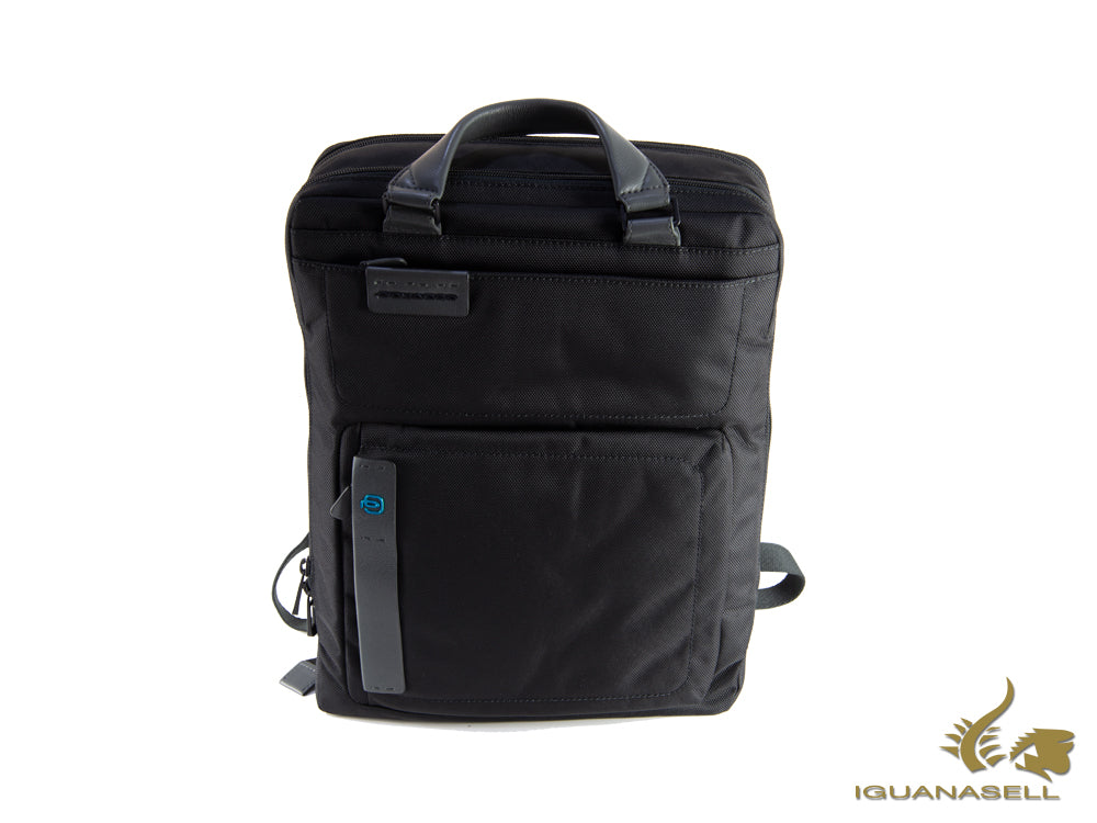 Piquadro P16 Backpack, Leather, Textile, Black, Zip, CA3975P16/N
