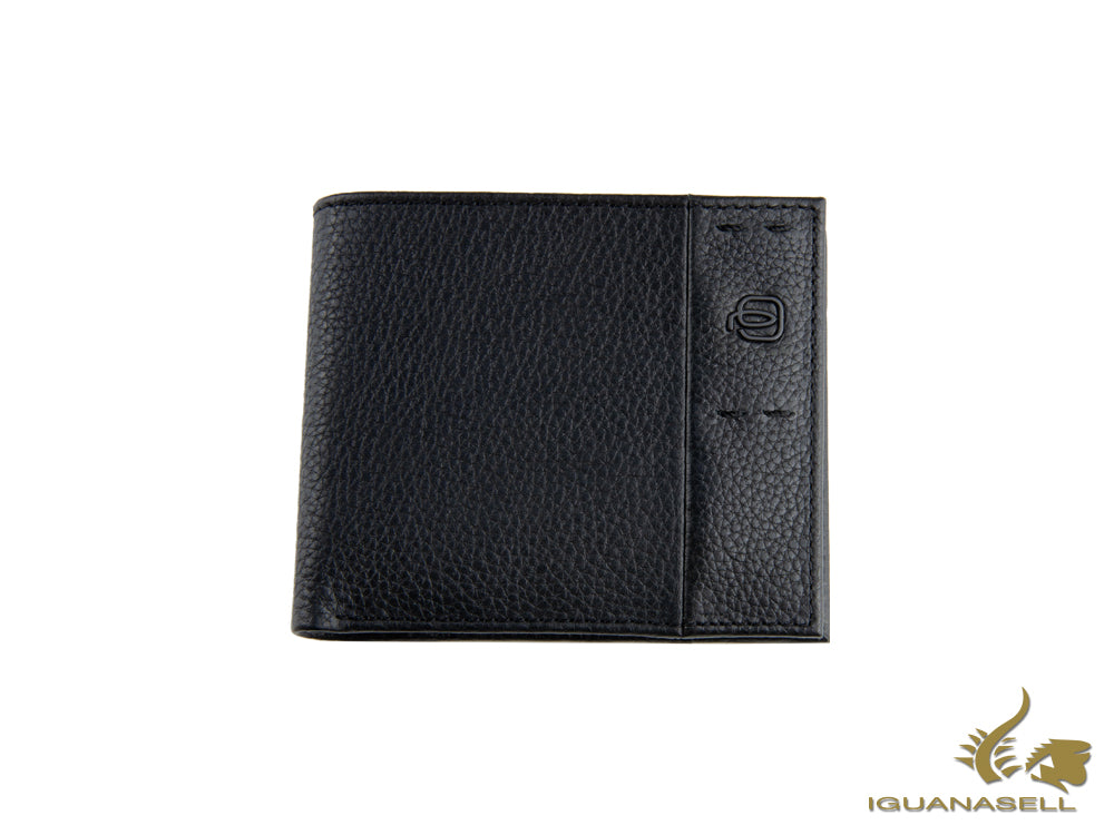 Piquadro Pulse Plus Wallet, Leather, Black, 2 Cards, Coin case, PU4188P15S/N