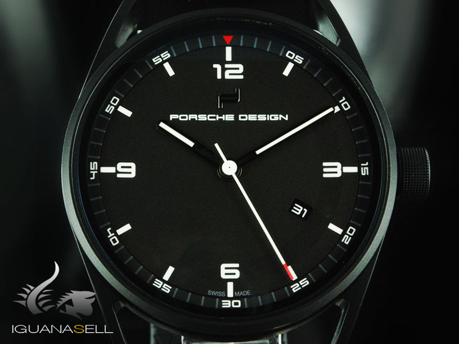 Porsche Design 1919 Datetimer Automatic Watch, Titanium, Black & Rubber