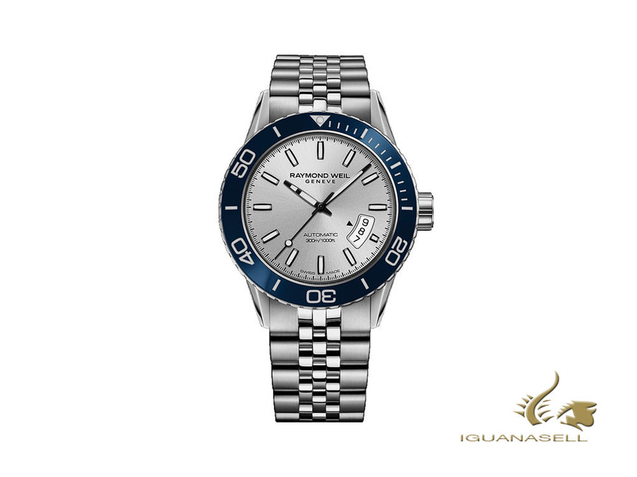 Raymond Weil Freelancer Automatic Watch, 42,5mm, Silver, Ceramic, 30 atm Raymond Weil Automatic Watch