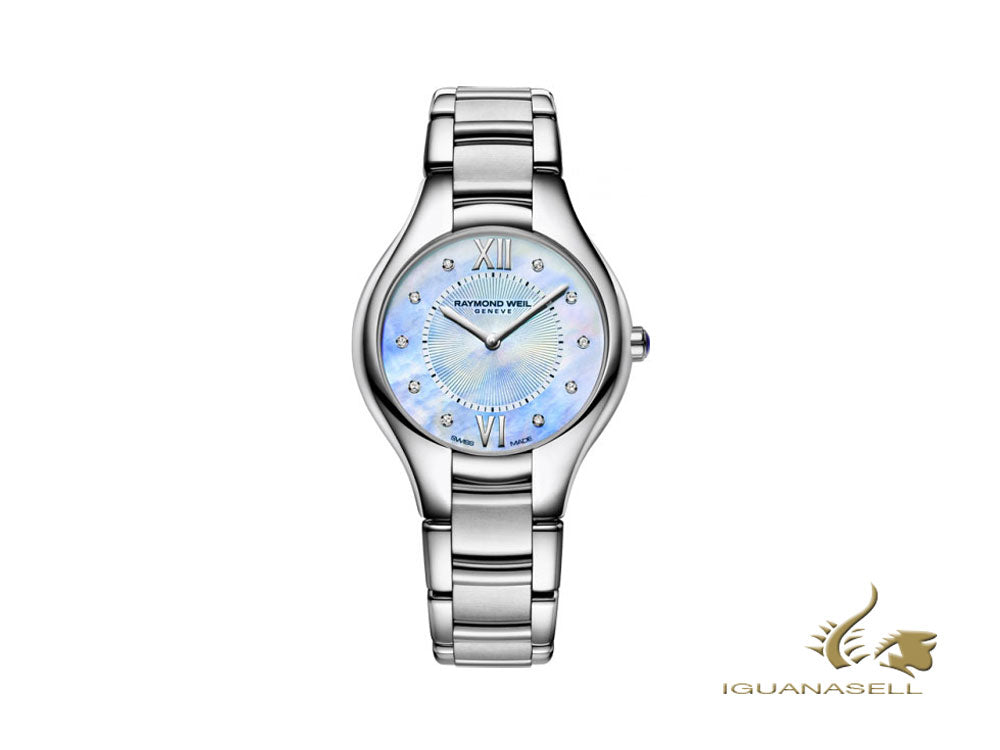 Raymond Weil Noemia Ladies Quartz Watch, Diamonds, Blue, 32mm