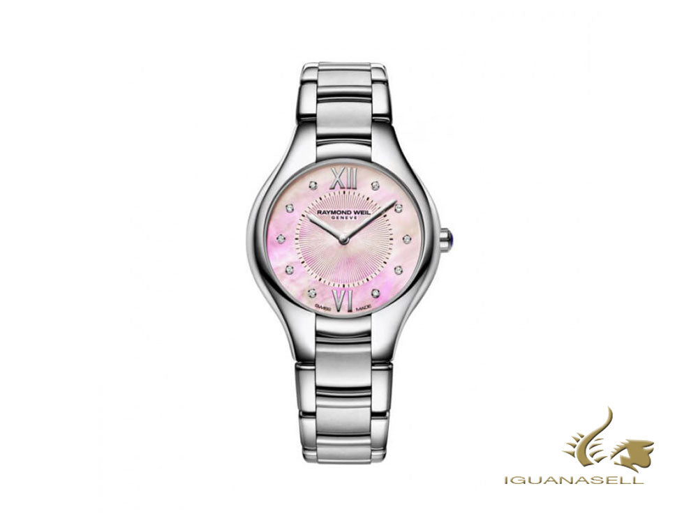 Raymond Weil Noemia Ladies Quartz Watch, Diamonds, Pink, 32mm