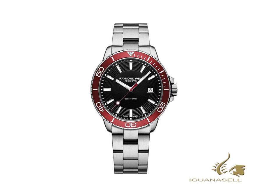 Raymond Weil Tango 300 Quartz Watch, Red/Black, 42mm, Day, 8260-ST4-20001 Raymond Weil Quartz Watch