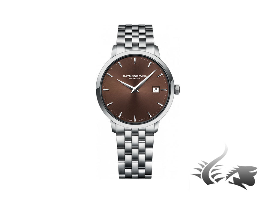 Raymond Weil Toccata Quartz watch, Brown, 39mm, Day, Steel bracelet
