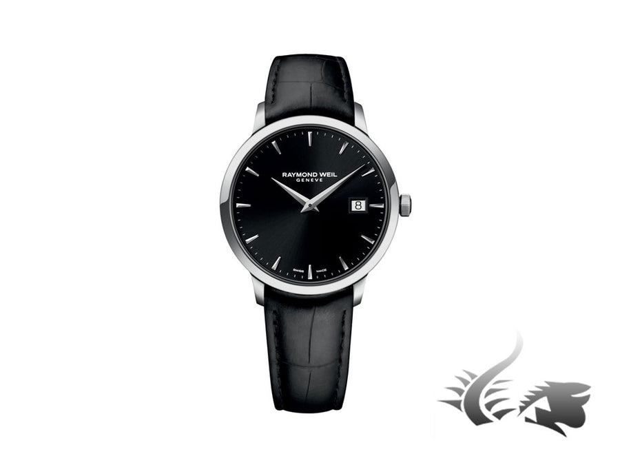Raymond Weil Toccata Quartz watch, Black, 39 mm, Day, Leather strap