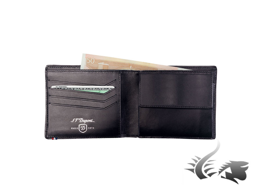 S.T. Dupont Défi Carbone Wallet, Leather, Black, 4 Cards, Coin case, 170003