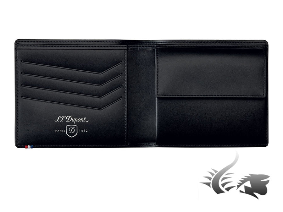 S.T. Dupont Défi Perforated Wallet, Leather, Black, 4 Cards, Coin case, 170403