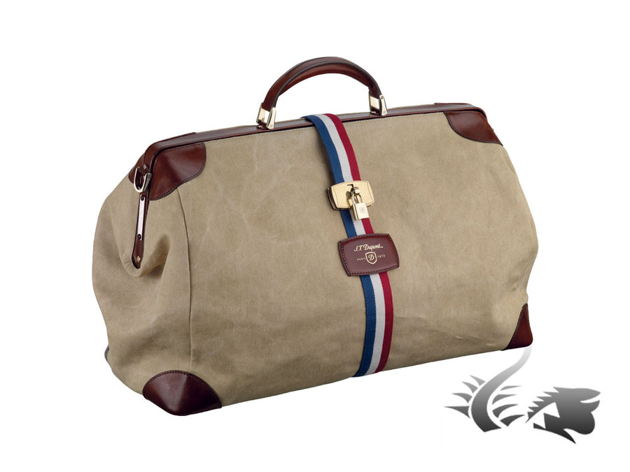 S.T. Dupont Iconic Bogie Men's bag, Cotton, Leather, Brown, Zip, 191100SS