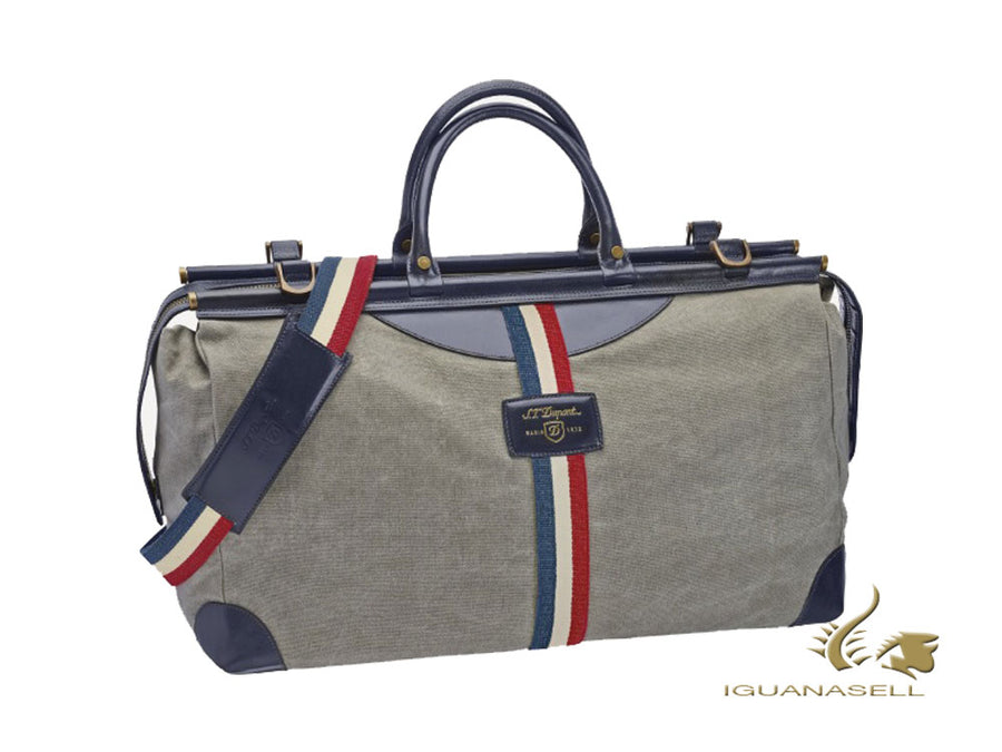 S.T. Dupont Iconic Sac de voyage, Cotton, Leather, Grey, Zip, 191310 S.T. Dupont Men's bag