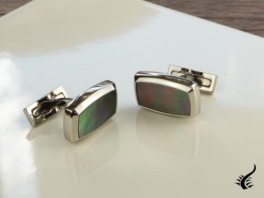 S.T. Dupont Label Cufflinks, Stainless steel, Mother of pearl, Black, 5513