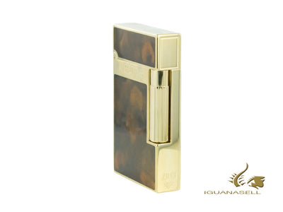 S.T. Dupont Ligne 2 Lighter, Chinese lacquer, Gold trim, Brown, 16126 S.T. Dupont Lighter
