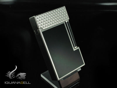 S.T. Dupont Ligne 2 Lighter, Chinese lacquer, Palladium trim, Black, 16746 S.T. Dupont Lighter