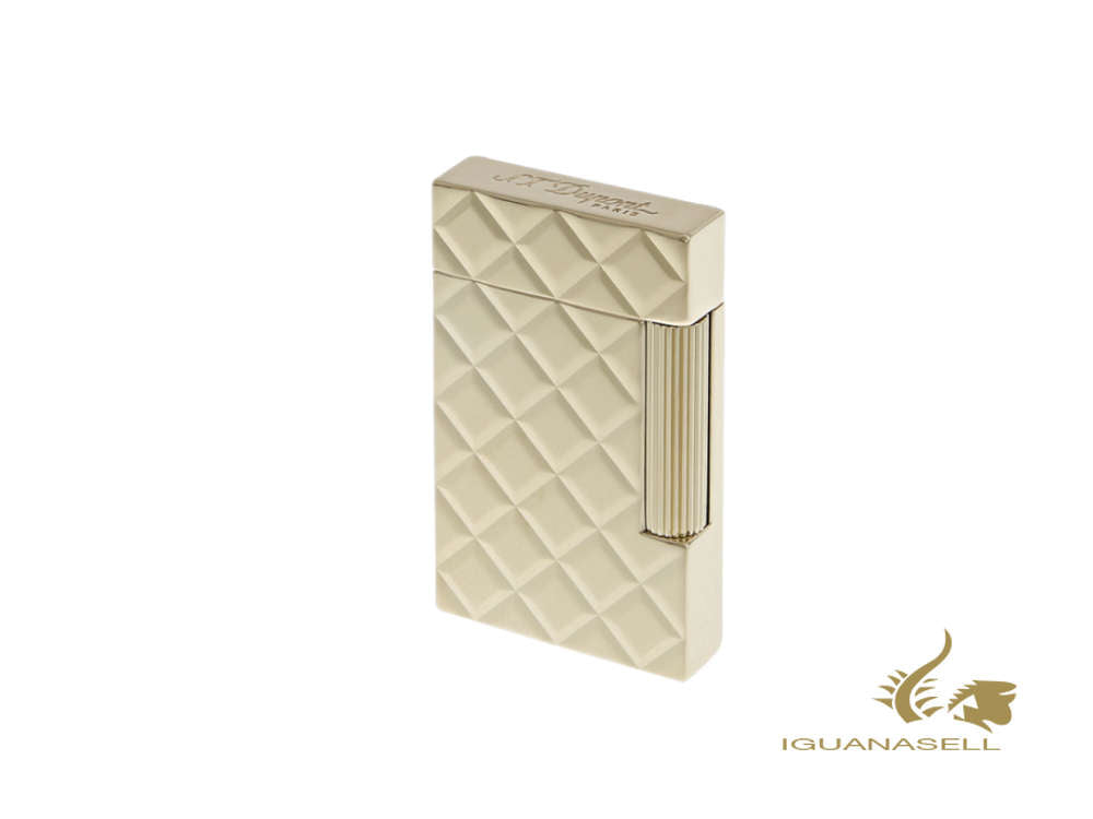 S.T. Dupont Ligne 2 Slim Quilted Lighter, Palladium, Gold plated, 017082