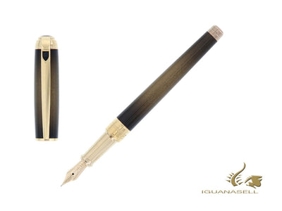 S.T. Dupont Line D Atelier Sunburst Bronze Gold Fountain Pen, 410107M