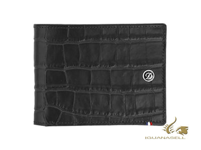 S.T. Dupont Line D Croco Dandy Wallet, Black, Leather, 8 Cards, 180063 S.T. Dupont Wallet