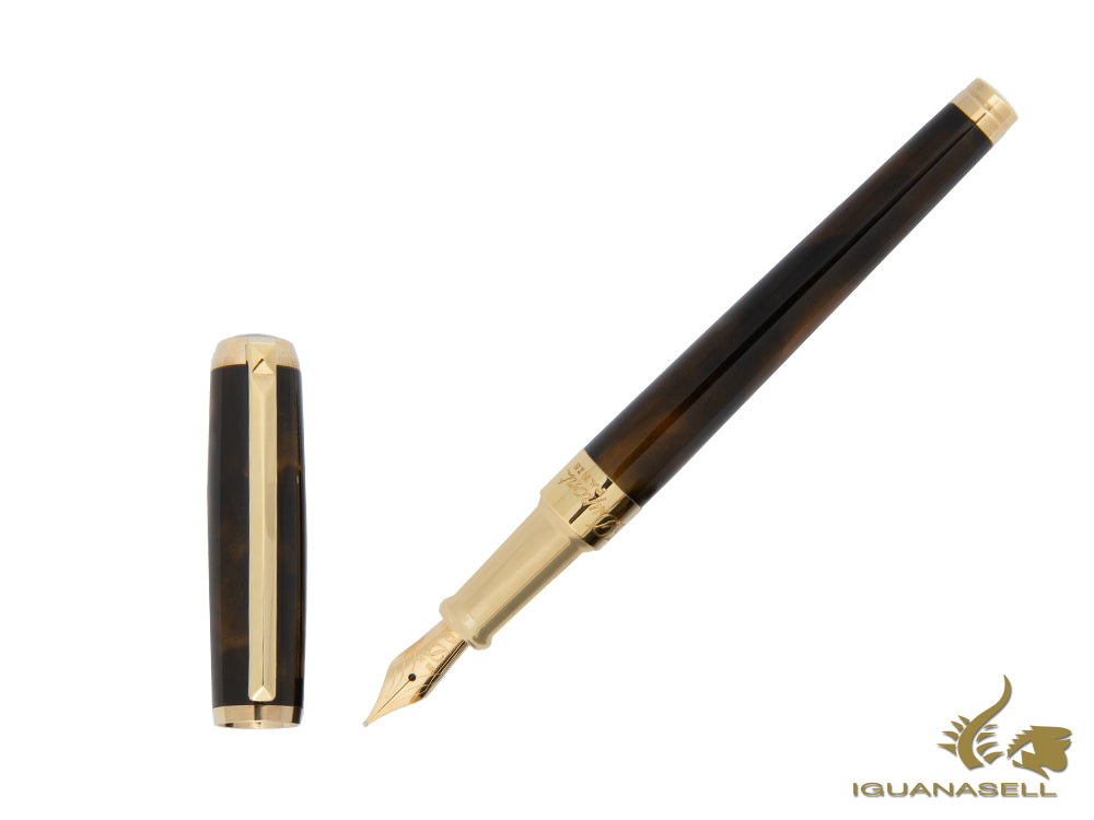S.T. Dupont Line D Medium Atelier Fountain Pen, Gold, Dark Brown