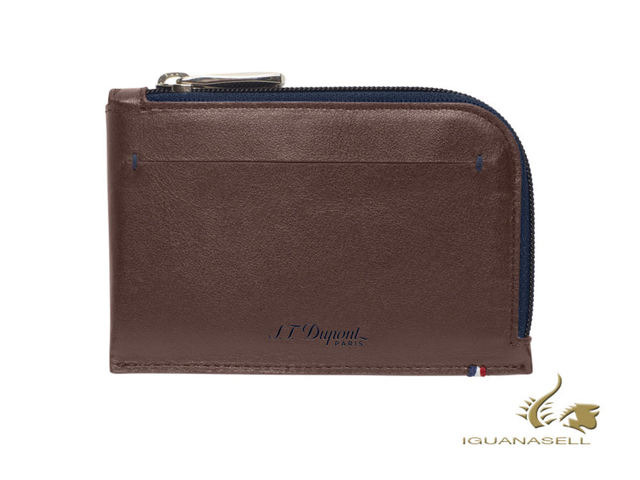 S.T. Dupont Line D Slim Coin Purse, Brown/Blue, Leather, 1 Card, 184101 S.T. Dupont Wallet