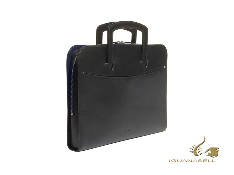 S.T. Dupont Line D Slim Document case, Leather, Black/Blue, Zip, 185000
