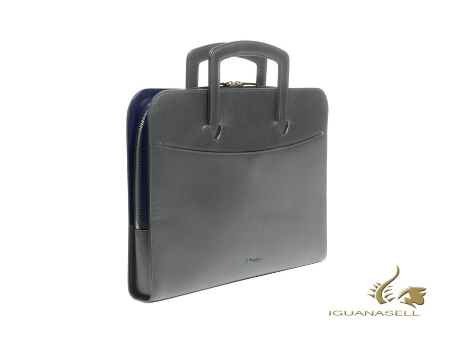 S.T. Dupont Line D Slim Document case, Leather, Grey/Blue, Zip, 185200 S.T. Dupont Document case