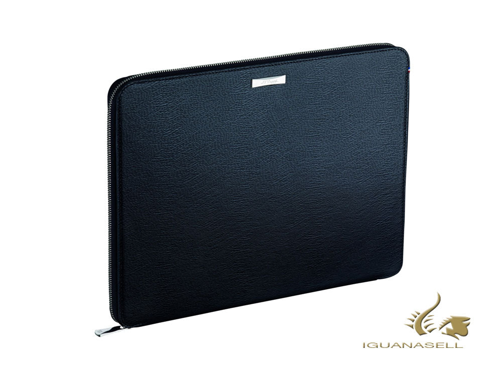 S.T. Dupont Line D Travel Conference Pad, Leather, Black, Zip, 181306