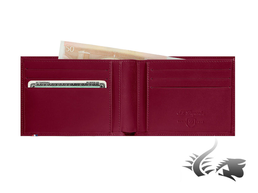 S.T. Dupont Line D Wallet, Red, Leather, 6 Cards, 5 Additional compartments