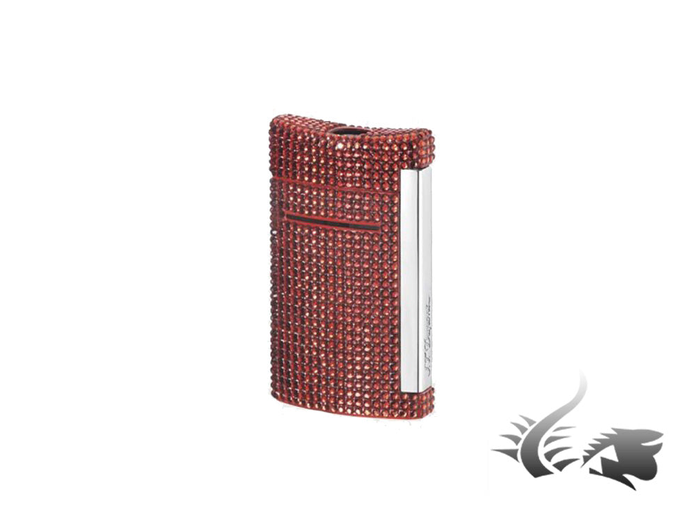 S.T. Dupont Minijet Lighter Swarovski Crystals, Lacquer, Red, 10094