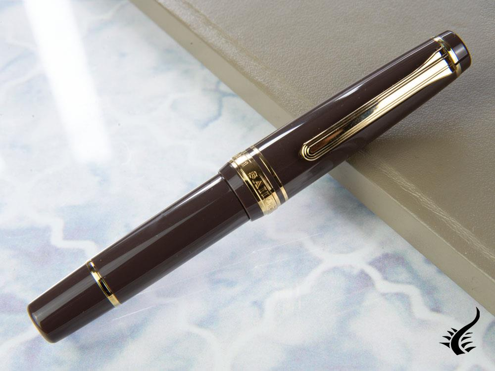 Sailor Pro Gear Slim Mini Puff Brown Fountain Pen, Gold, 11-1503-380