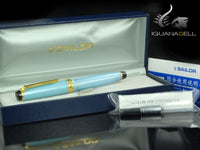 Sailor Professional Gear Slim Shiki-Oriori Fountain Pen, Sky Blue, Gold