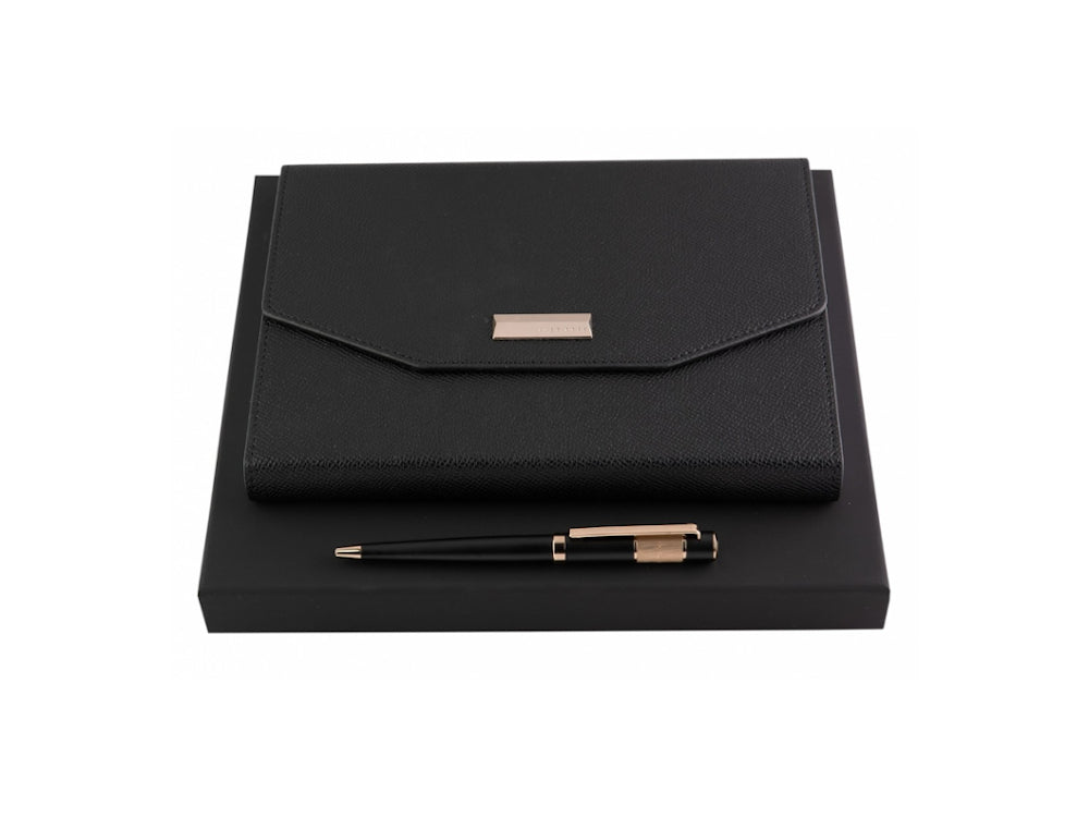 Set Hugo Boss Ribbon Lady Black Ballpoint pen and Agenda, Brass, HPBM006A