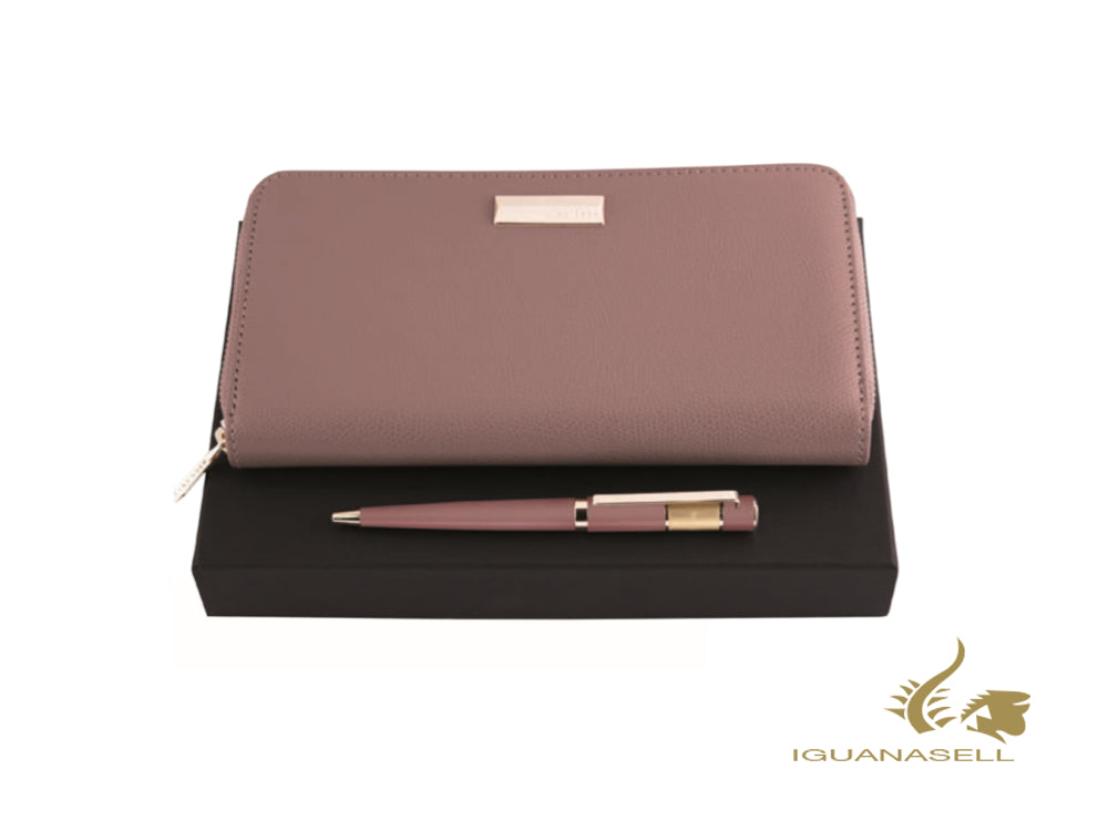 Set Hugo Boss Ribbon Lady Blush Ballpoint pen and Notebook cover, Pink, HPBV006X