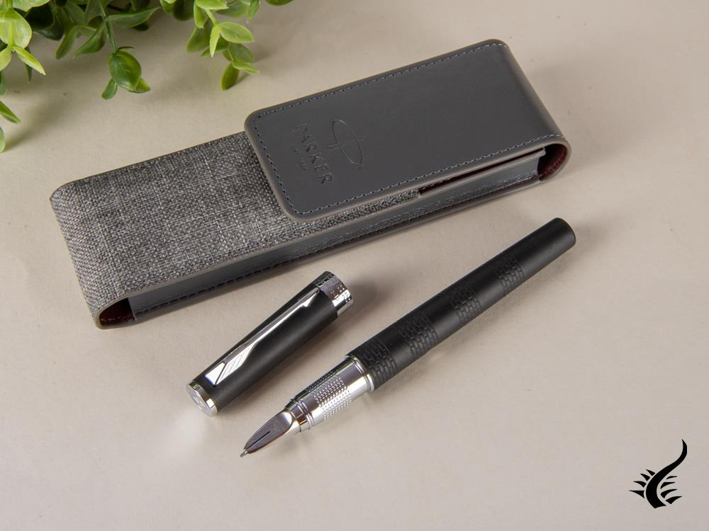 Set Parker Ingenuity Fountain Pen, Rubber, Chrome Trim, Black, 1978330