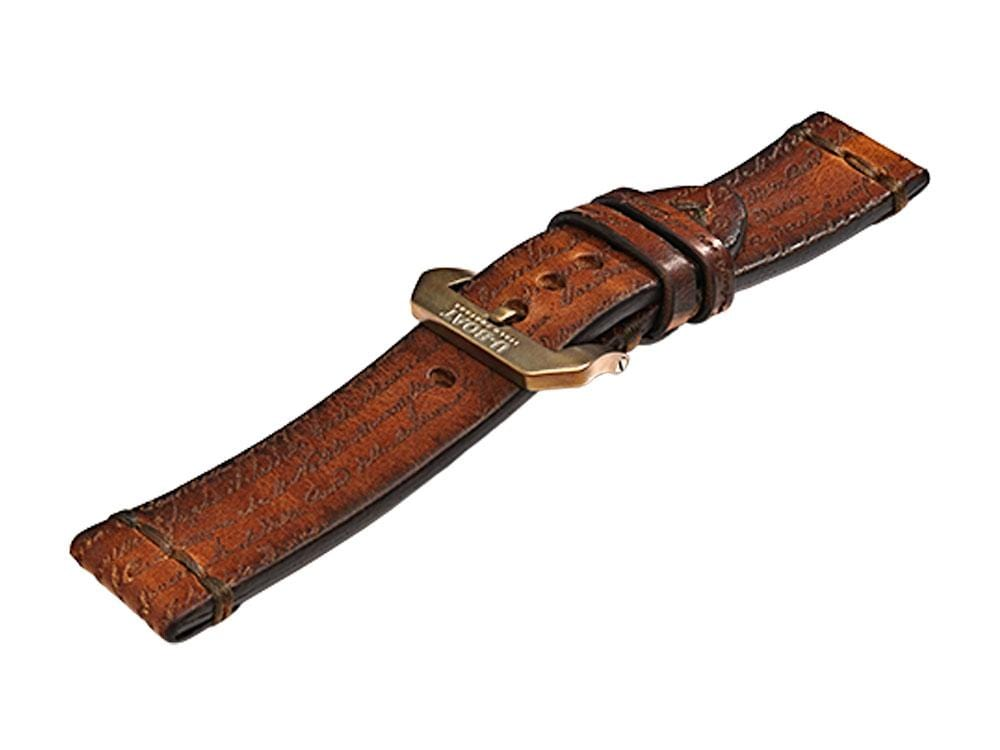 U-Boat Accesorios Strap, Calfskin Leather, Brown, 23mm., Stainless Steel, 7707 Strap