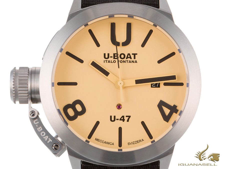U-Boat Classico Automatic Watch, Stainless Steel 316L, Beige, 47mm, 8106 U-Boat Automatic Watch