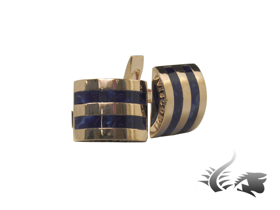 Visconti Bridges Navy Blue Cufflinks, Lucite, Rose Gold, 980C024 Visconti Cufflinks