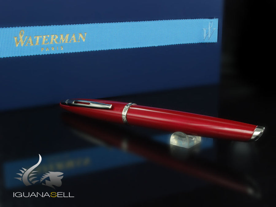 Waterman Carène Fountain Pen, Lacquer, Red, 18K Gold Rhodium Plated Waterman Fountain Pen