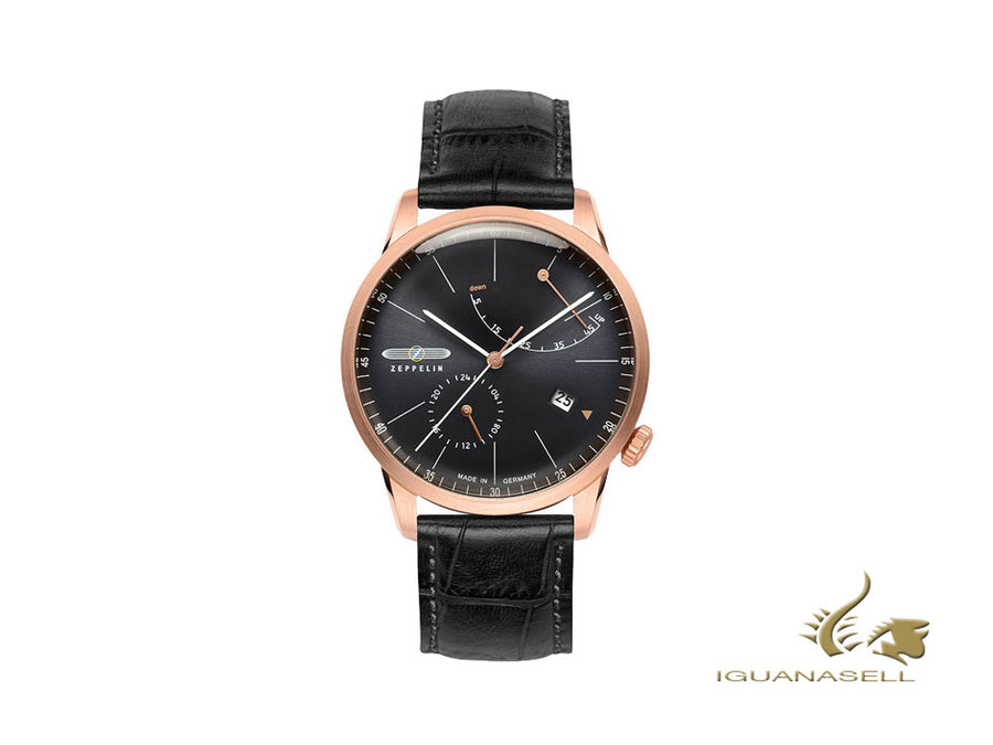 Zeppelin Flatline Automatic Watch, PVD Rose Gold, Anthracite, 40 mm, Sí, 7368-2 Zeppelin Automatic Watch