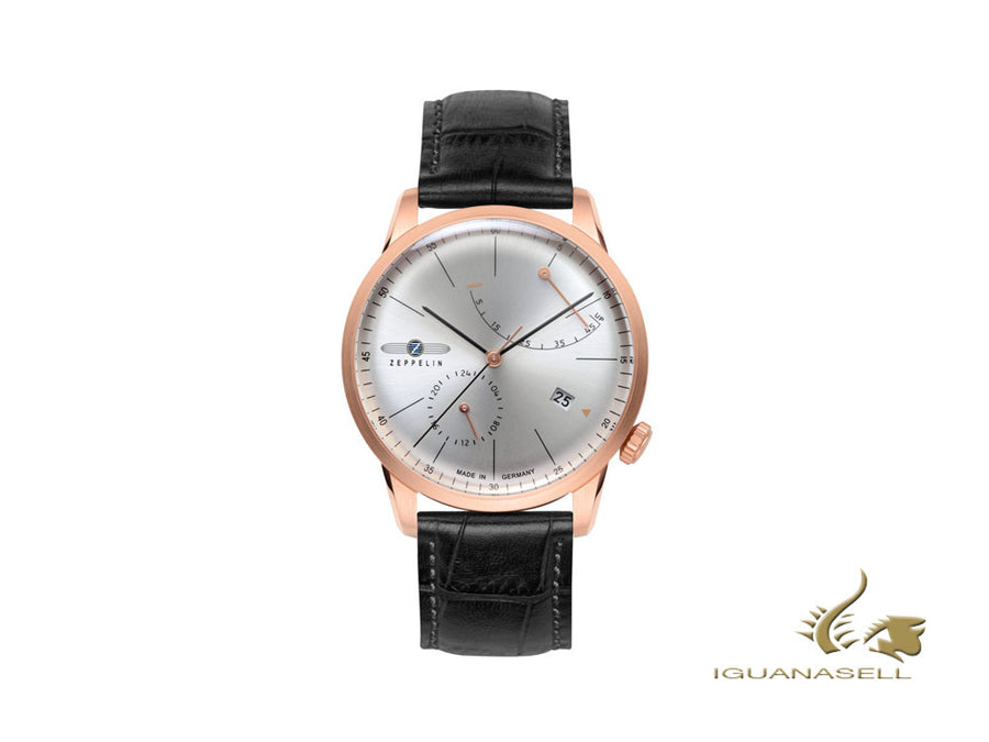 Zeppelin Flatline Automatic Watch, PVD Rose Gold, Silver, 40 mm, Sí, 7368-4 Zeppelin Automatic Watch