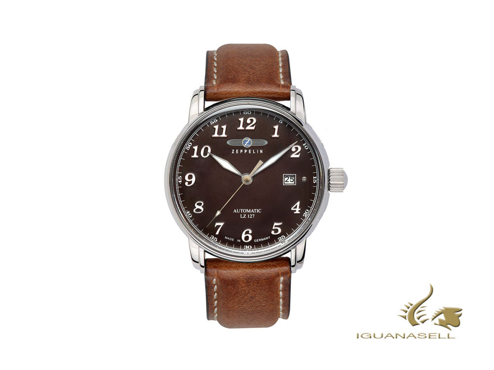 Zeppelin LZ 127 Graf Zeppelin Automatic Watch, Brown, 40 mm, Day, 8656-3