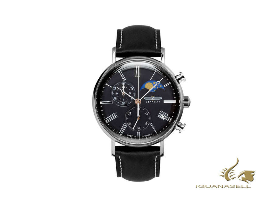 Zeppelin LZ120 Rome Quartz Watch, Black, 41 mm, Day, Moon Phase, 7194-2 Zeppelin Quartz Watch