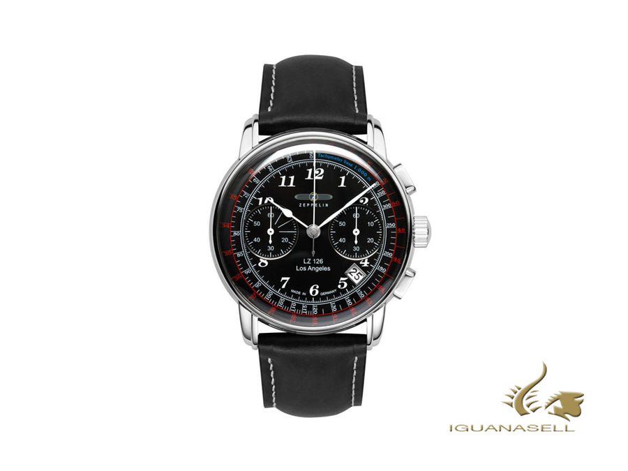 Zeppelin LZ126 Los Angeles Quartz Watch, Black, 42 mm, Chronograph, 7614-2 Zeppelin Quartz Watch