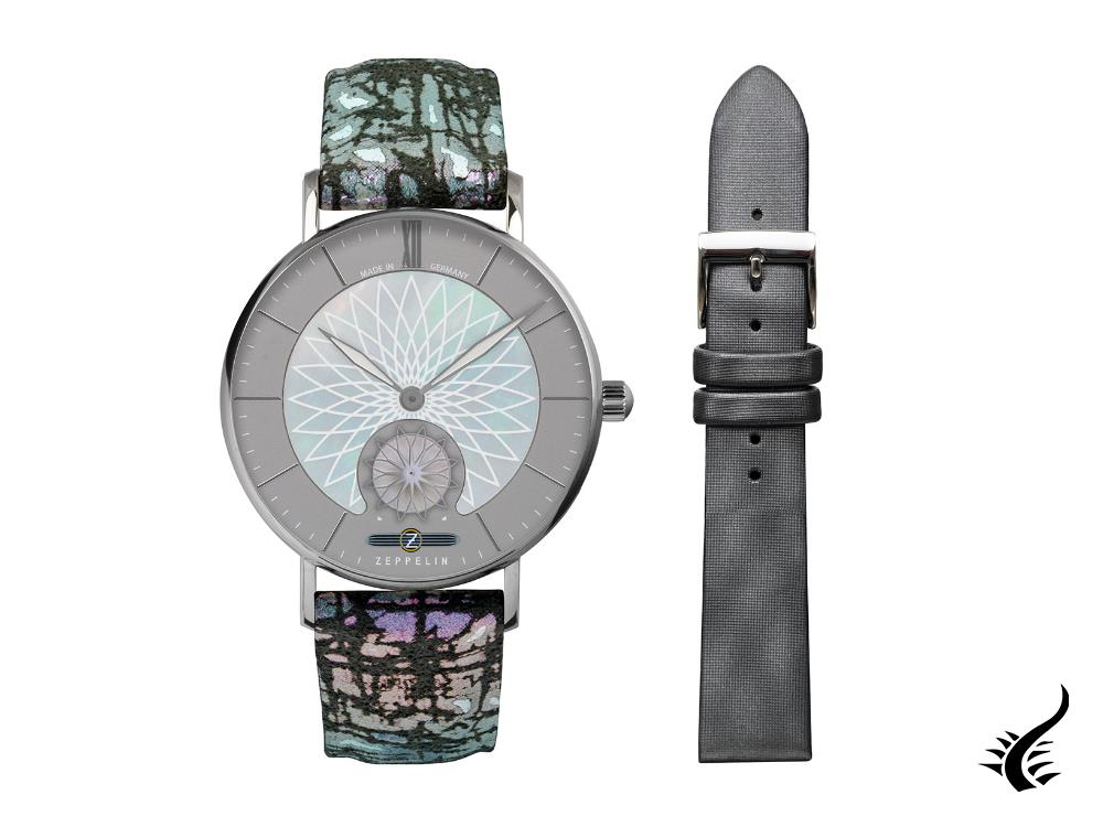 Zeppelin Mandala Quartz Watch, Grey, 36 mm, 8131-3
