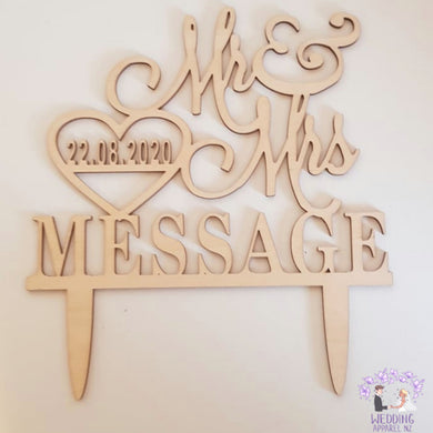 Personalised cake topper- Mr & Mrs Name & date