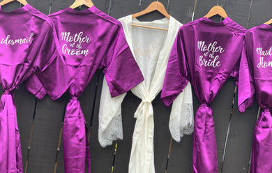 Bridal Robes for the entire team- Cadbury Purple White Writing