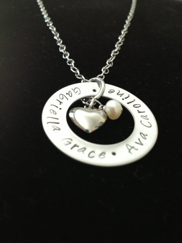 Open Circle with Heart and Pearl Necklace