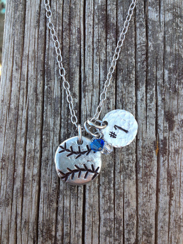 Hand Stamped Baseball / Softball Necklace