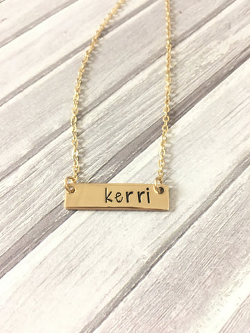 Petite Gold Filled Bar Necklace