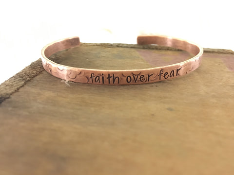 faith over fear copper cuff