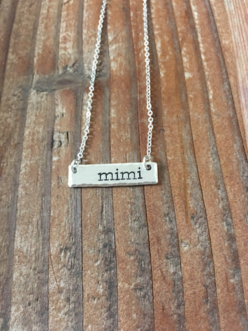 Petite Sterling Silver Bar Necklace