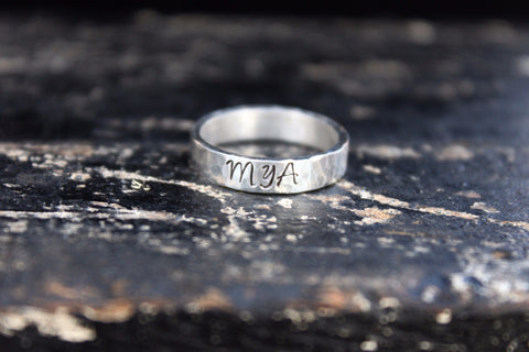 Sterling Silver Wider Band Name Ring