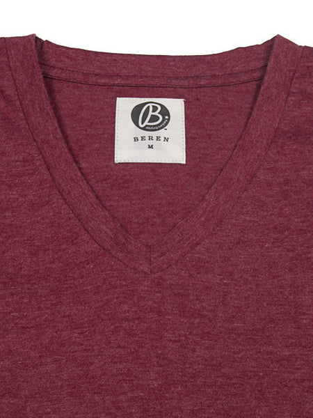 Beren LA Solid V-Neck Tee Red Heather
